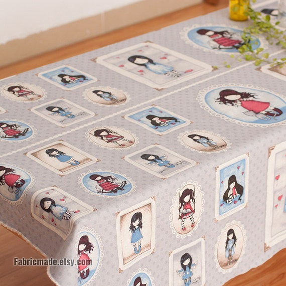 """Cartoon Illustration Fabric Cloth Blue Purple Cotton Linen Blended Fabric With Cute Girls- One Panel 60""""x 23"""""""