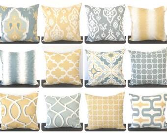 Pillow, Throw Pillow, Pillow Cover, Cushion, Toss Pillow, Decorative Pillow,  saffron yellow grey ivory ikat