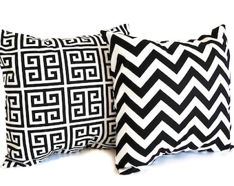 Pair of pillow covers shams cushion covers black and white throw pillow covers black modern decor
