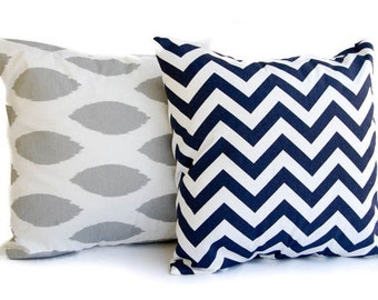 """Throw pillow covers set of two 20"""" x 20"""" storm gray Chipper Ikat and Navy Chevron zig zag"""
