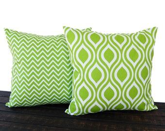 Throw pillow covers Pair of Two chartreuse lime green cushion cover pillow shams Nicole and Cosmo Chevron