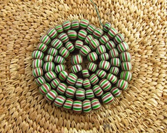 Antique Venetian Striped Chevron Glass Beads