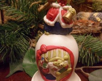 Ceramic Santa Bear Christmas Bear  Bell   (T)