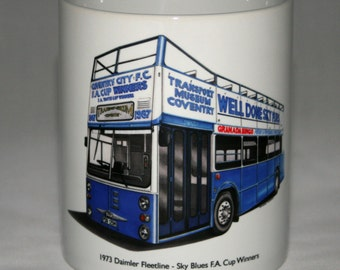 Classic Bus Mug. Daimler Fleetline - Coventry City Sky Blues FA Cup Winners.