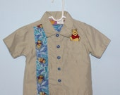 Vintage Baby Boy's Winnie The Pooh Shirt . Khaki Shirt with Pooh Appliqué . Size 12 Months