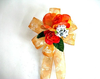 Orange birthday gift bow/ Female gift bow/ Special celebration gift wrap bow/ Orange gift bow/ Gift for females/Bow for presents (HB74)