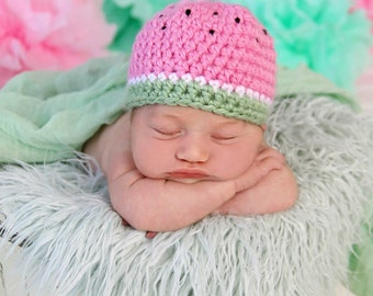 Newborn Watermelon Crochet Hat Photo Prop