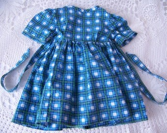 Vintage Doll Dress. Blue Plaid Doll Dress. Doll Clothing. Vintage Doll Clothes. Doll Accessories. Vintage Blue Doll Dress. Baby Doll Dress.