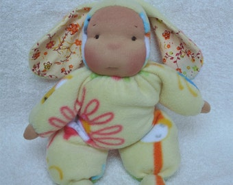 "Fretta's Waldorf style floppy Bunny Baby, 11"" / 28 cm tall. Soft child friendly baby doll."