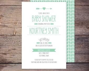 Gender Neutral Shower Invite, Modern Baby Shower Invitation, Green Mint, Girl or Boy, Shower Invite, DIY Printable, Digital File - KOURTNEY