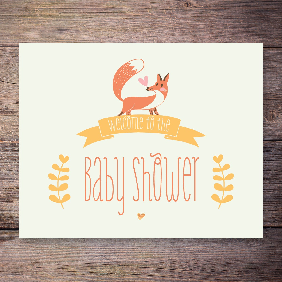 baby shower welcome sign instant download woodland fox