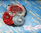 Red, Black, Grey Headband, Hair Accessories, Fabric Flower Headband, Gray, Hair Clip, Fabric Flower Brooch, Baby Girl Hair Bow, Hair Piece