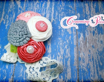 Grey, Coral, Ivory Headband, Hair Accessories, Hair Clip, Fabric Flowers, Girls Hair Bow, Fabric Flower Brooch, Hair Piece, Flower Headband