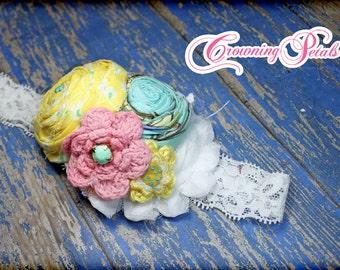 Aqua, Mint, Yellow, Pink Headband, Easter Headband, Baby Hair Bow, Fabric Flower Hair Accessory, Spring Colors Hair Piece, Hair Clip, Pastel