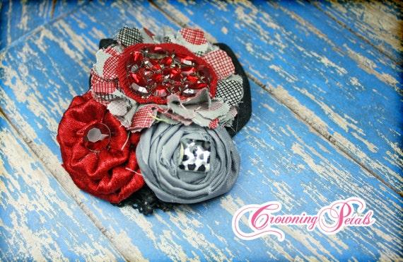 Red, Black, Grey Headband, Hair Accessories, Fabric Flower Headband, Gray, Hair Clip, Fabric Flower Brooch, Baby Girl Hair Bow, Hair Piece