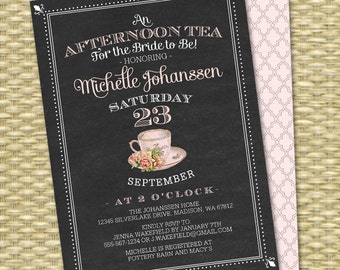 Chalkboard Bridal Tea Invitation Bridal Shower Tea Party Bridal Tea Bridal Brunch Vintage Teacup Pink Roses, Any Event