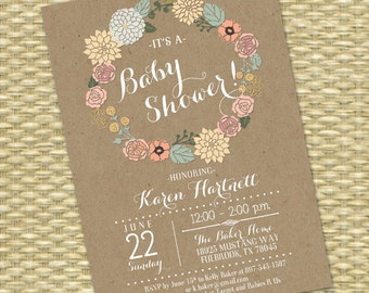 Kraft Baby Shower Invitation Floral Wreath Baby Girl Gender Neutral Shower Invitation Baby Sprinkle Sip and See ANY EVENT