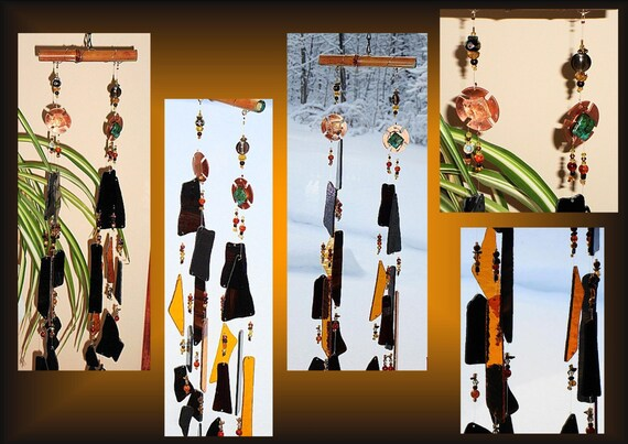 Persian Black Gold Copper Metal Windchime, Glass Chime, Garden Decor, Stained Glass Window Suncatcher, Hanging Mobile