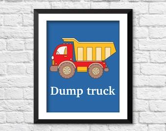 dump truck art print, boys truck decor, construction art print, construction decor, baby boy bedroom wall art, nursery art print