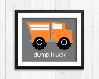 Trucks, construction, boy art prints, dump truck print, construction, baby nursery decor, construction wall art, construction print, A-1004