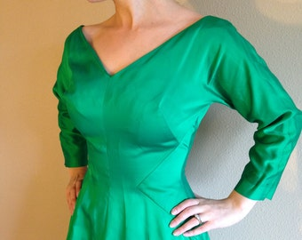 Green Satin Fitted 60s Bombshell Party Dress