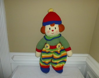 Hand Knit Clown - Soft Plush Doll - Toy