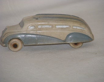 Vintage 1930's Sun Rubber Toy Touring Bus Model Car