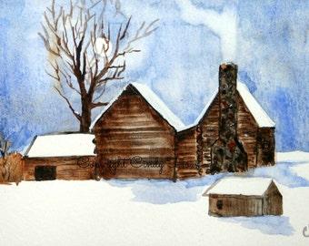 Digital art, winter log cabin, winter scene, old home place,snowy scene, log cabins, winter, log home