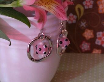 Polka Dot Lampwork Bead and Hoop Earrings
