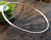 Textured Sterling Silver Bangle. Round Wire Bangle. Closed Silver Bracelet. Handmade Bangle. Stacking Bangle. Made to Order in Your Size.