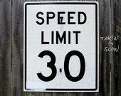 Vintage Road Sign - Metal - Reflective - Speed Limit - Transportation - Industrial Decor - Large - Black and White - Crazing