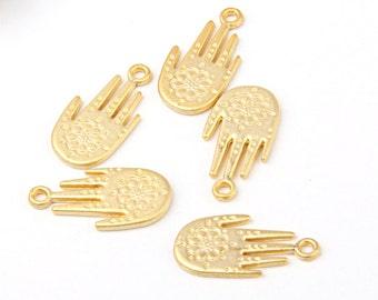 Gold Floral Hamsa, Hand of Fatima Charms, 5 pieces // GPCh-152