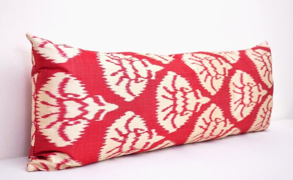 Long Decorative Pillows : Red and white Ikat Throw pillow Long Bolster by EasternHomeDecor