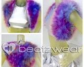PREMADE tie dye hippie furry vest dark sunset pink purple orange bolero crop top rave music festival accessories cropped top