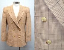 Tan Blazer, Size 8, Women's Light Brown Jacket, Ladies' Vintage Jacket, Talbots Blazer, Double Breasted Women's Jacket