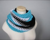 Crochet Bright Blue, Black, Silver, White NHL, NFL Hockey Football, Carolina Panthers, Sports Team Infinity Scarf, Men's Scarf, Unisex Scarf