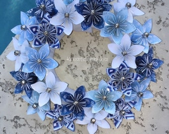 Origami Paper Flower Wreath / wedding decorations, origami wreath, paper flower wreath, kusudama, paper wreath, paper flowers, paper bouquet