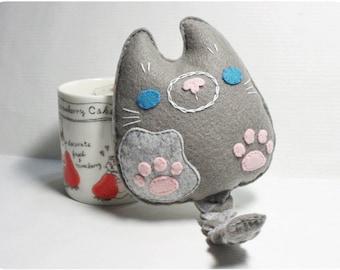Little Meow - Gray, Felt Cat, Stuffed Cat, Whimsical Cat