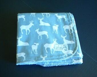 Premier Prints Deer Silhouette in Gray Minky Baby Blanket