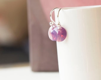 Sparkly Lilac Swarovski Crystal Earwire Silver Mini Earrings