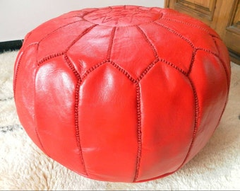 Couple of 2 Leather  Poufs  ( also called  poof floor pillow foot stool) red
