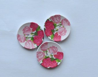 Rose Painted Wooden Buttons 4cm