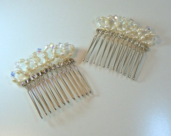 PUT a RING on IT - Pearl and Cubic Zirconia Hair Comb Pair
