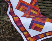 Lap Quilt, Sofa Quilt, Quilted Throw - Log Cabin Batik Lap Quilt - Mardi Gras