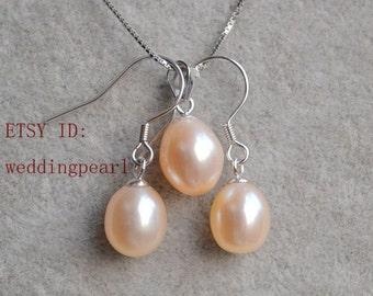 pale pink pearl pendant earrings set,freshwater pearl set,925 silver chain with freshwater pearl pendant dangle earrings set, pink pearl set