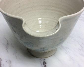 Vintage stoneware (Spongewear style) bowl with spout, light blue
