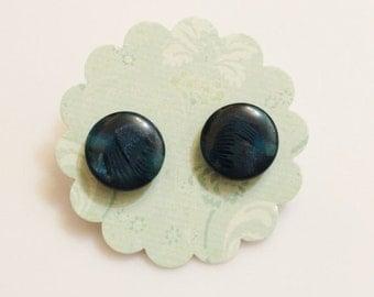 Dark Blue Stud Earrings, Button Jewelry