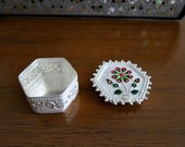 Handcrafted Silver Enamelled Box from Bengal -- Ring Box -- Floral