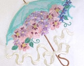 Victorian Parasol Applique and Embroidered Quilt Block by Amy