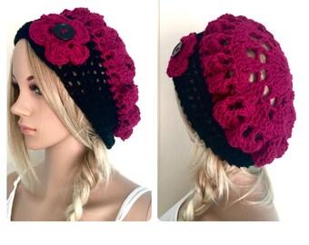 BUY1GET1HALFPrice Womens/teens hand crocheted/knitted oversized slouch beanie beret hat,black magenta,pink,wine flower,circle mandala,tam,